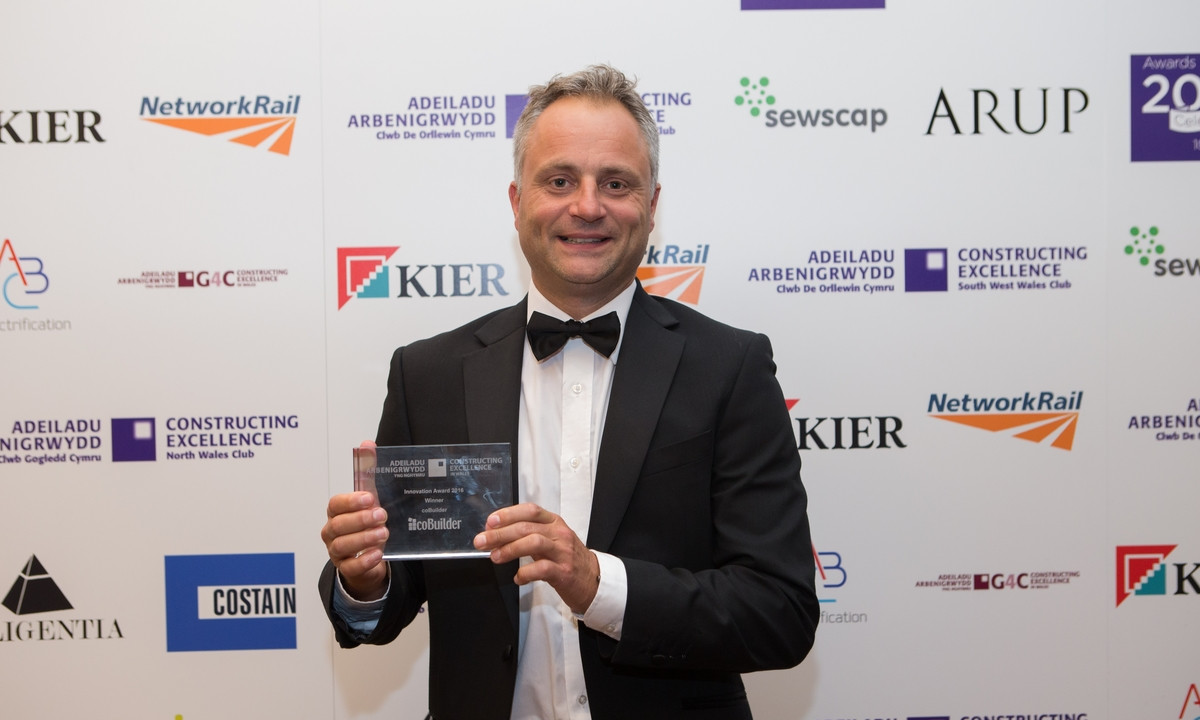 Nick Tune holding the Wales Constructing Excellence Award for innovation 2016